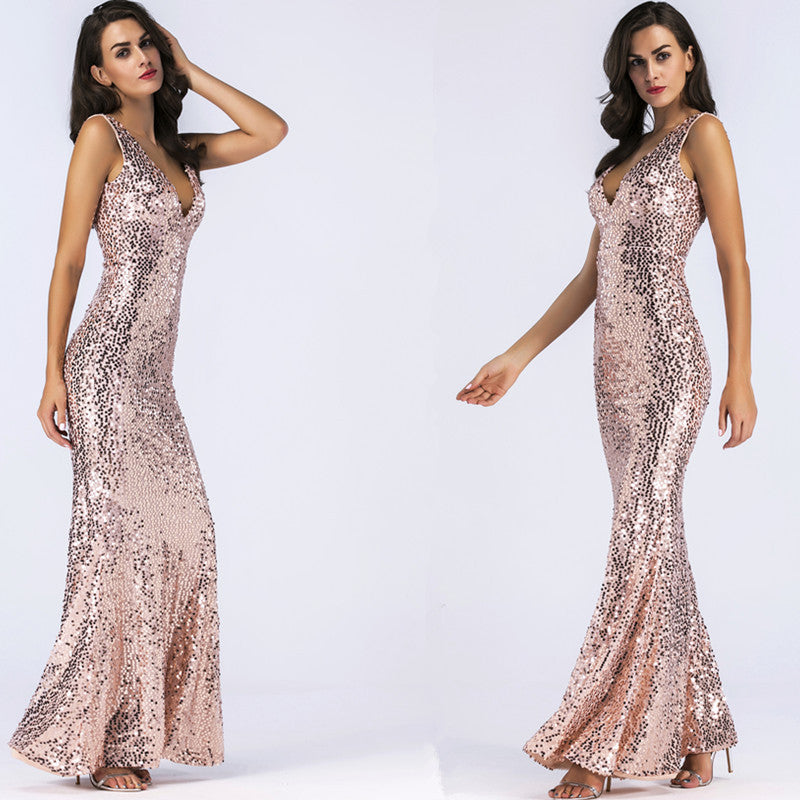 Sequins Deep V-neck High Waist Bridesmaid Party Long Dress