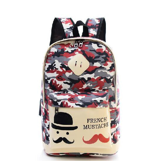 Fashion Canvas Camouflage Mustache Cartoon School Backpack Bag - Meet Yours Fashion - 1