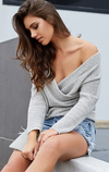 Deep V-neck Long Sleeves Irregular Cross Wrap Sweater