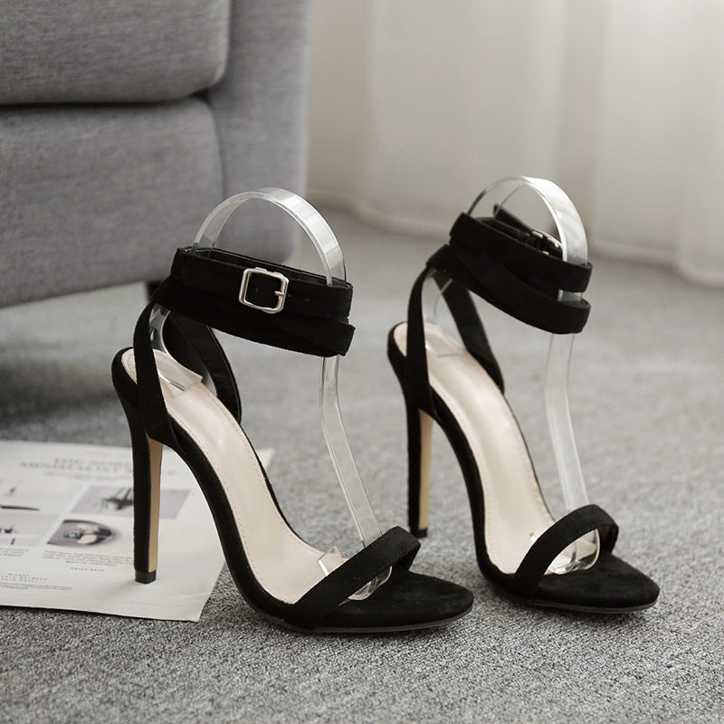 Open Toe Suede High Heel Sandals