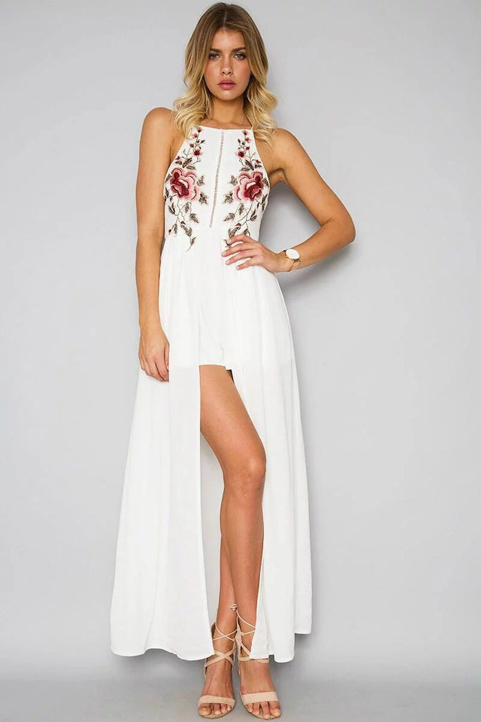 7954cf9248e4 Floral Embroidered Halter Neck Maxi Dress Featuring Criss-Cross Open Back