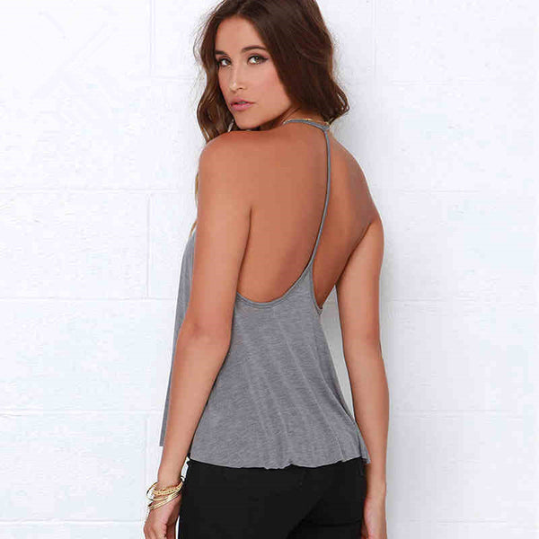 Pure Color Spaghetti Strap Backless Loose Tank Top