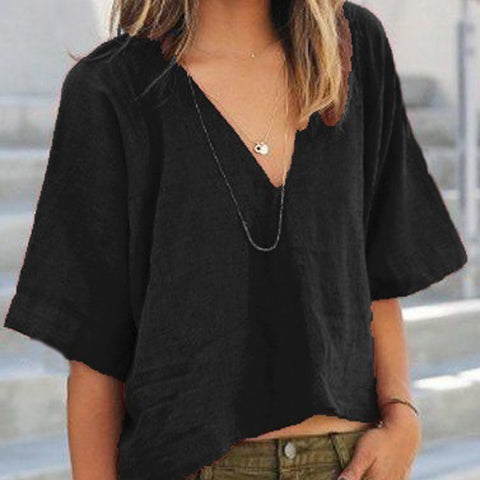 Depp V-neck 1/2 Sleeves Casual Fashion Blouse