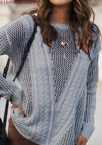 Hollow Out Crew Neck Irregular Loose Knit Sweater