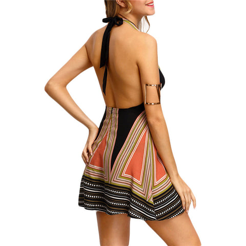Sexy Backless Halter Printed Beach Dress