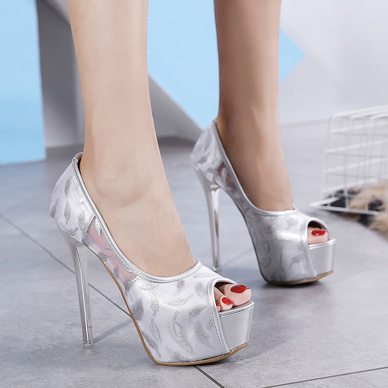 Fishbeak Stilettos Waterproof Platform Single Shoes