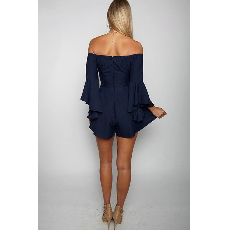 Strapless Off Shoulder Bell Sleeves Romper