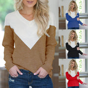 Patchwork Long-sleeved T-shirt sweater with V-collar in autumn and winter
