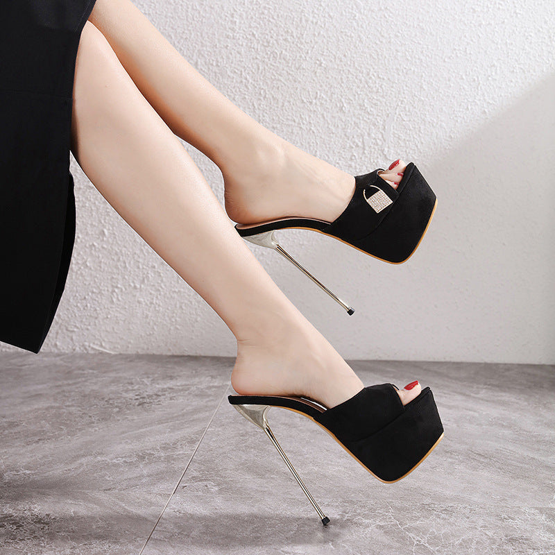 Metal lock drill fish mouth thin high heel sandals
