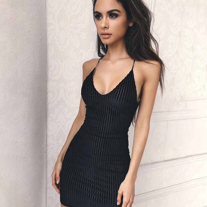 Pure Color Spaghetti Straps V-neck Bodycon Short Dress