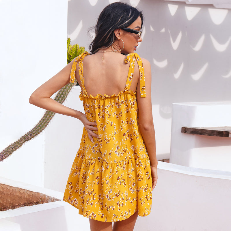 Floral suspender loose Ruffle Dress