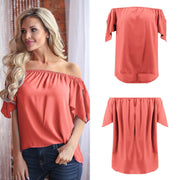 Irregular Off-shoulder Pure Color Split 1/2 Sleeves Chiffon Blouse