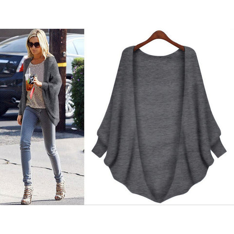 Loose Long Bat-wing Sleeves V-neck Regular Cardigan