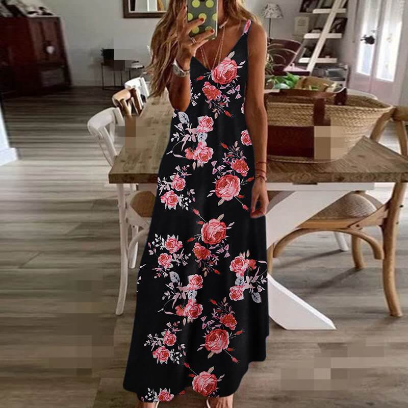 Floral Sleeveless A Line Dress