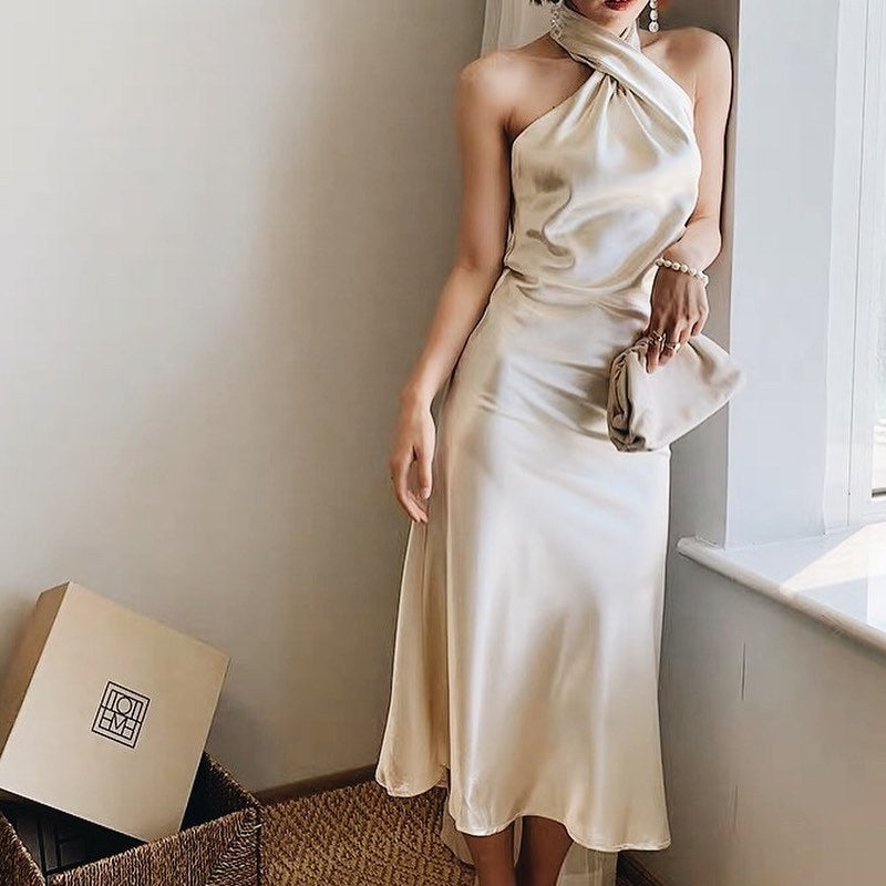 Champagne Halter Backless Cold Shoulder Dress