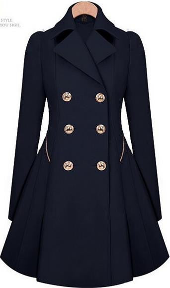 Double Button Turn-down collar Slim Plus Size Coat - Meet Yours Fashion - 6