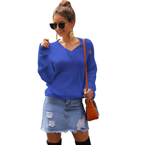 V-Neck Cropped Long Balloon Sleeve Women Sweater