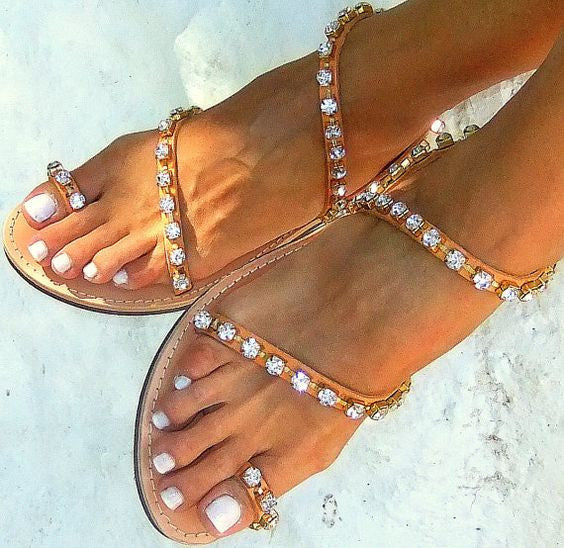 Handmade Bridal Ancient Greek Rhinestone Flat Sandals - MeetYoursFashion - 1