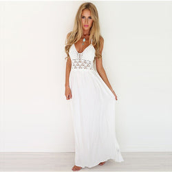 Fashion Lace Patchwork V-neck Straps Chiffon Long Dress - Meet Yours Fashion - 1