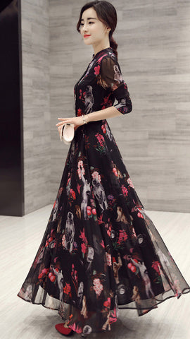 Long Sleeves High Neck Flower Print Loose Ankle Length Chiffon Dress - Meet Yours Fashion - 1