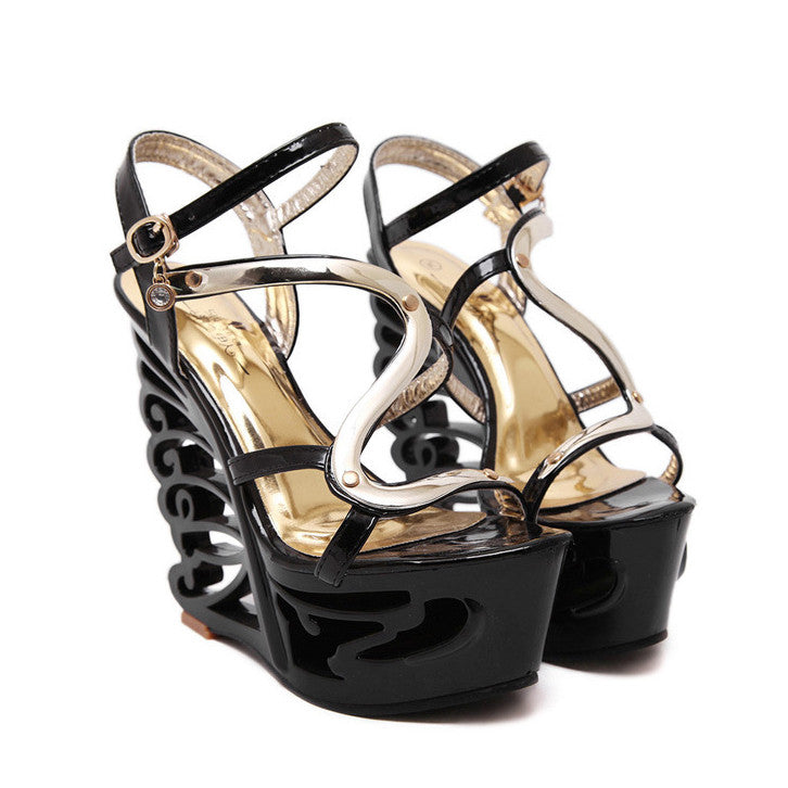 Sexy Hollow Out Platform High Wedge Sandals Club Shoes - MeetYoursFashion - 8