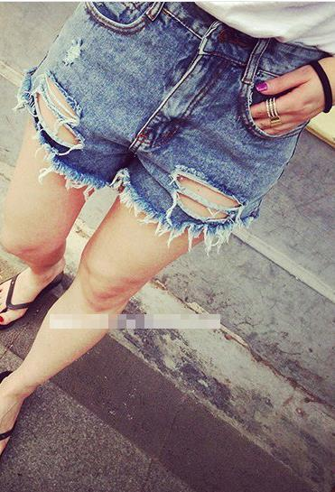 Holes Ripped High Waist Tassel Hot Shorts - Meet Yours Fashion - 2