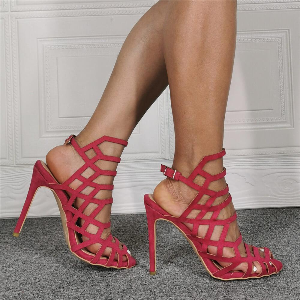 Red Cutout Peep Toe Suede High Heel Sandals