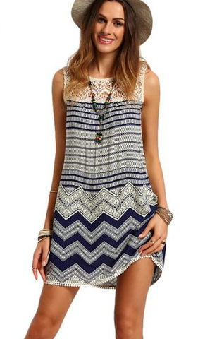 Lace Print Stripe O-neck Sleeveless Short Dress - Meet Yours Fashion - 1