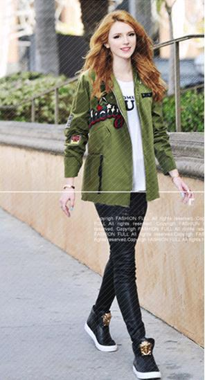 Army Style Plus Size Belt Casual Loose Flower Print Long Sleeves Jacket - Meet Yours Fashion - 1