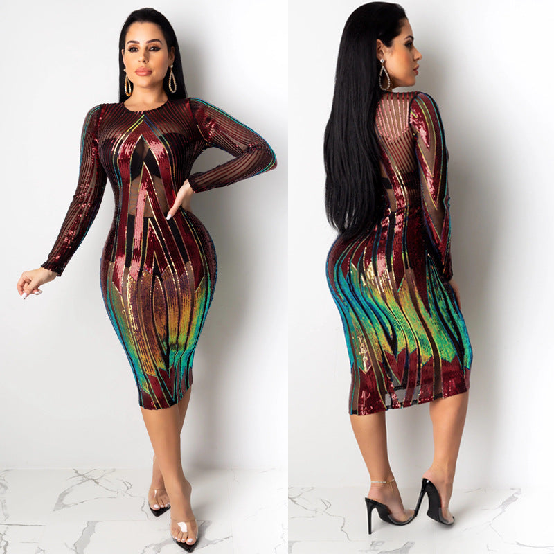 Sequin Sheer Patchwork Bodycon Long Sleeve Dress