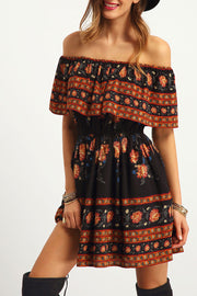 Off Shoulder Print Half Sleeves Short Beach Dress