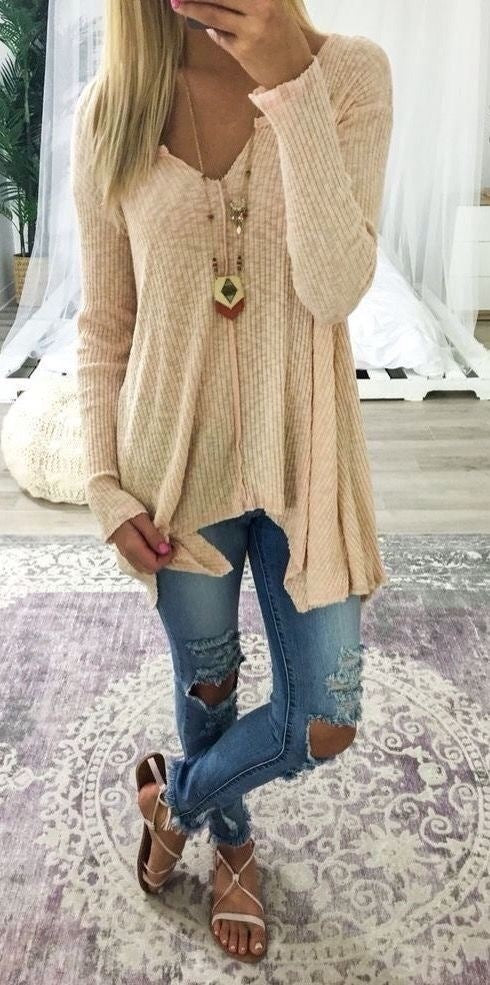 Deep V-neck Irregular Loose Solid Color Women Loose Sweater