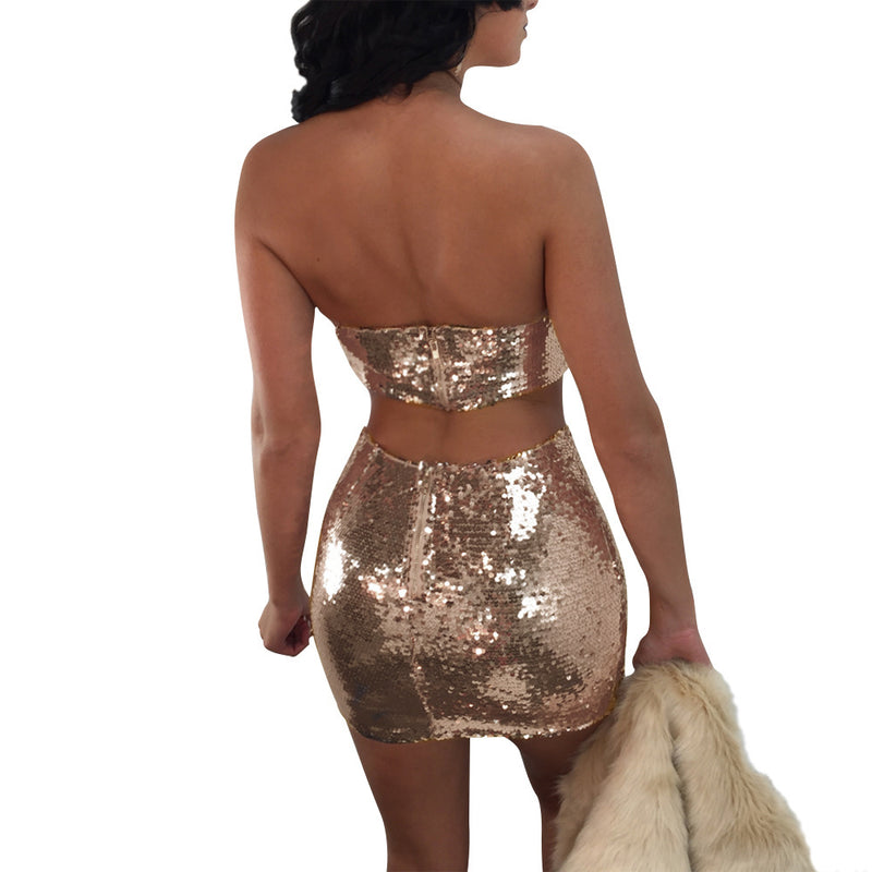 Shinning Sequins Strapless Cami Top Cut Out Short Skirt Two Pieces Dress Outfits