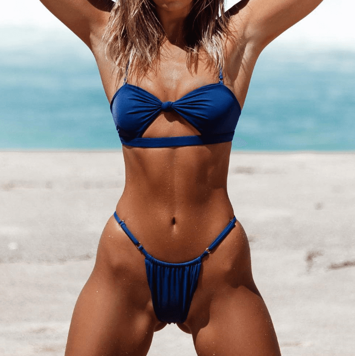 Hot Cutout Plain Padded Top Thong Bottom Bikinis