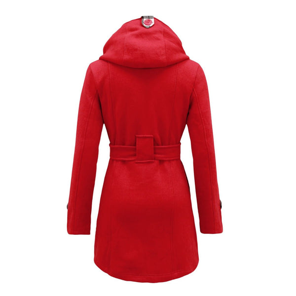 Plus Size Double Breasted Long with Belt Hooded Coat - MeetYoursFashion - 11