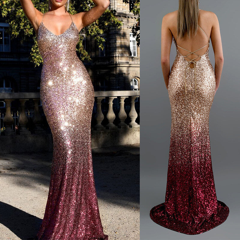 Sequin Fade color Backless Dress