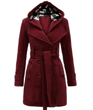 Plus Size Double Breasted Long with Belt Hooded Coat - MeetYoursFashion - 9