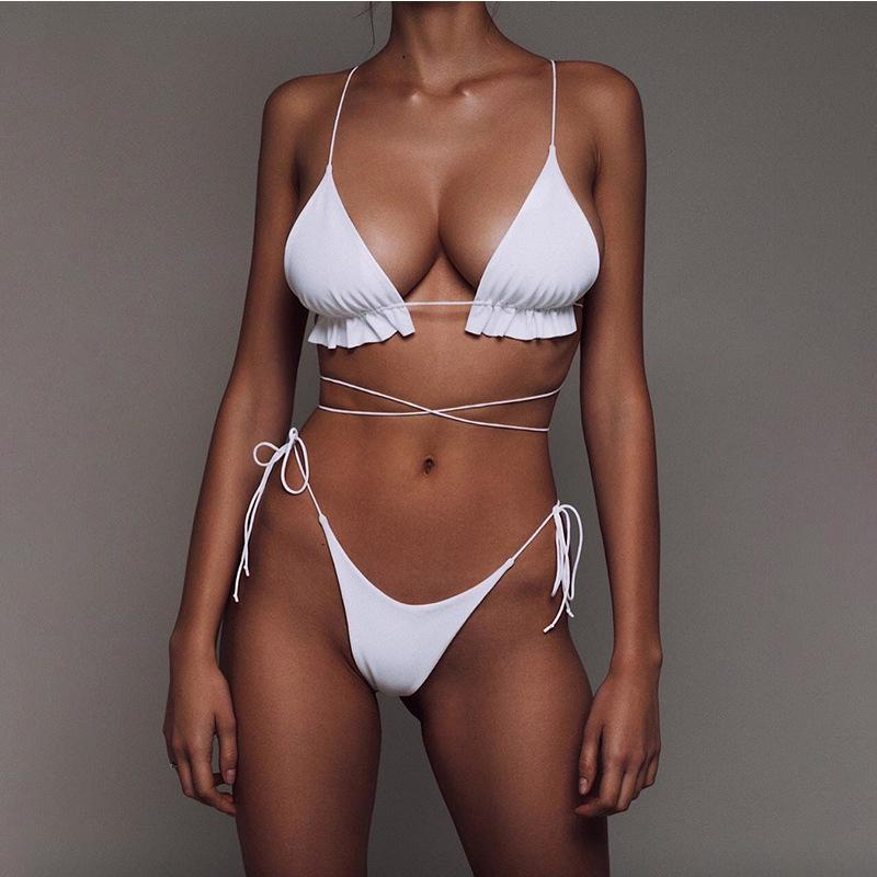 Hot Plain Strappy Low Rise Thong Bottom Bikinis