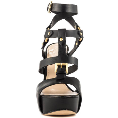 Black Platform Gladiators Leather Buckle Sandals