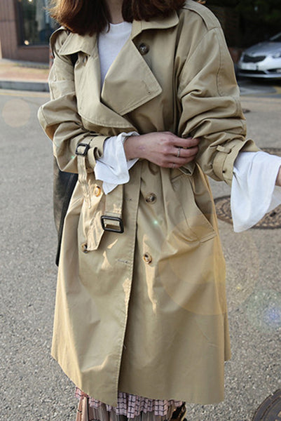 Pure Color Belt Long Sleeves Loose Double Breasted Long Coat