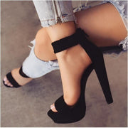 Platform Suede Peep Toe High Heel Sandals