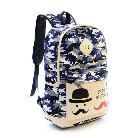 Fashion Canvas Camouflage Mustache Cartoon School Backpack Bag - Meet Yours Fashion - 7