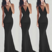 V-neck Spaghetti Straps Backless Long Party Dress