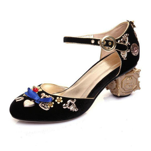 Cute Suede Embellished Round Toe Chunky Heel Sandals