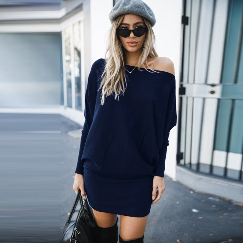 Plain Long Sleeve Skew Neck Bodycon Dress