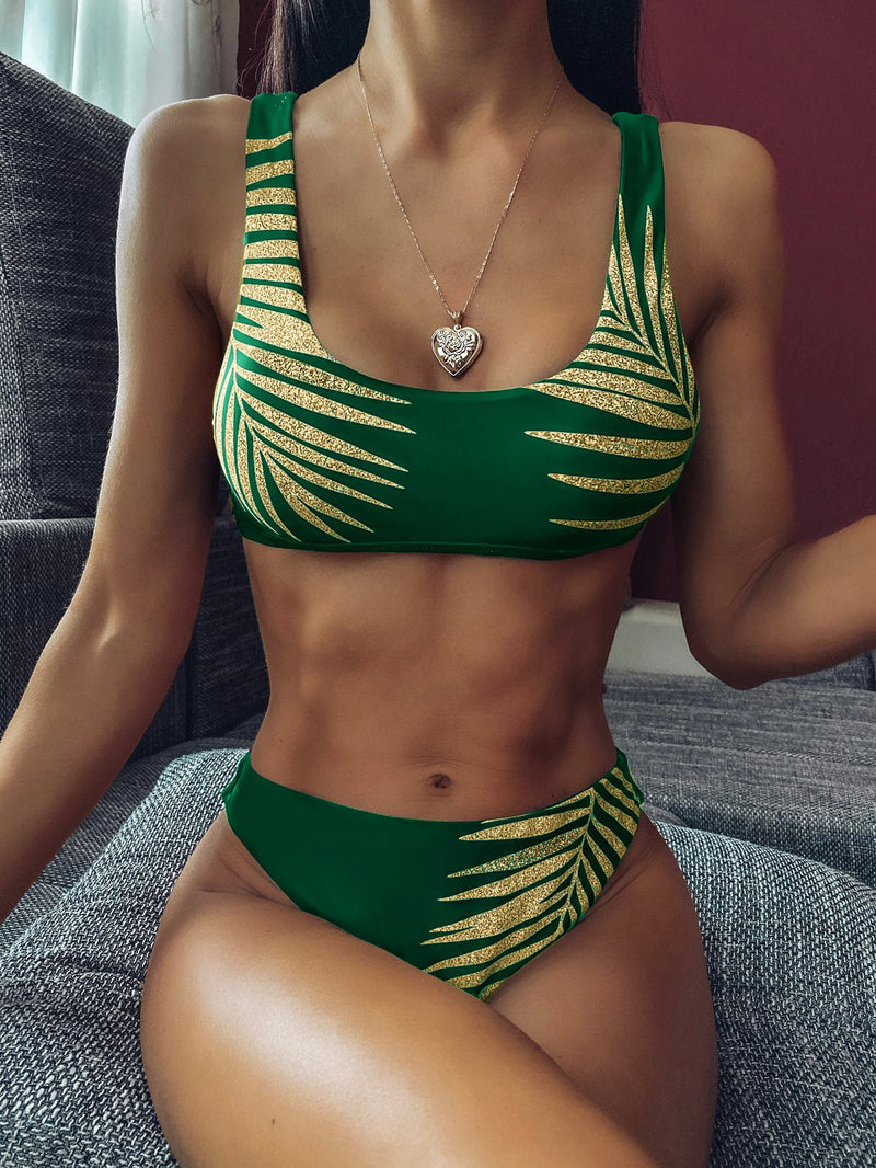 Sequin Leaves Print Mid Rise Thong Bottom Bikinis