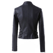 Lapel Stand Collar Zipper Slim Crop Jacket - Meet Yours Fashion - 6