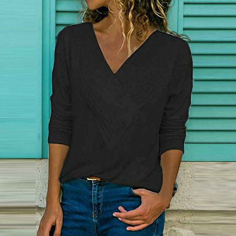 Simple V-neck Loose T-shirt
