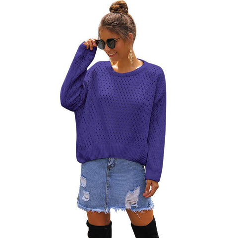 Casual Crewneck Hollow Out Sweater