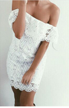 Off Shoulder Lace Hollow Sexy Short Dress - Meet Yours Fashion - 2